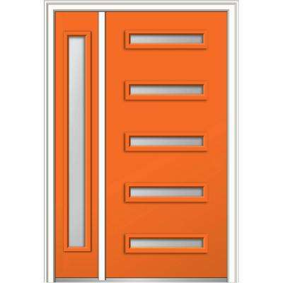 50 in. x 80 in. Davina Frosted Glass Left-Hand Inswing 5-Lite Modern Painted Steel Prehung Front Door with Sidelite