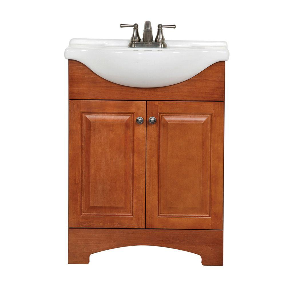 Glacier Bay Chelsea 26 in. W x 36 in H x 18 in. D Bathroom Vanity in Nutmeg with Porcelain Vanity Top in White