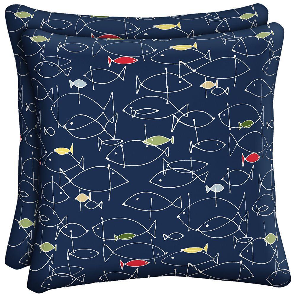 Hampton Bay Little Fin Outdoor Throw Pillow (2-Pack)