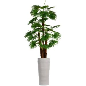 87 in. Tall Fan Palm Tree Artificial Dcor Faux Burlap Kit and Fiberstone Planter