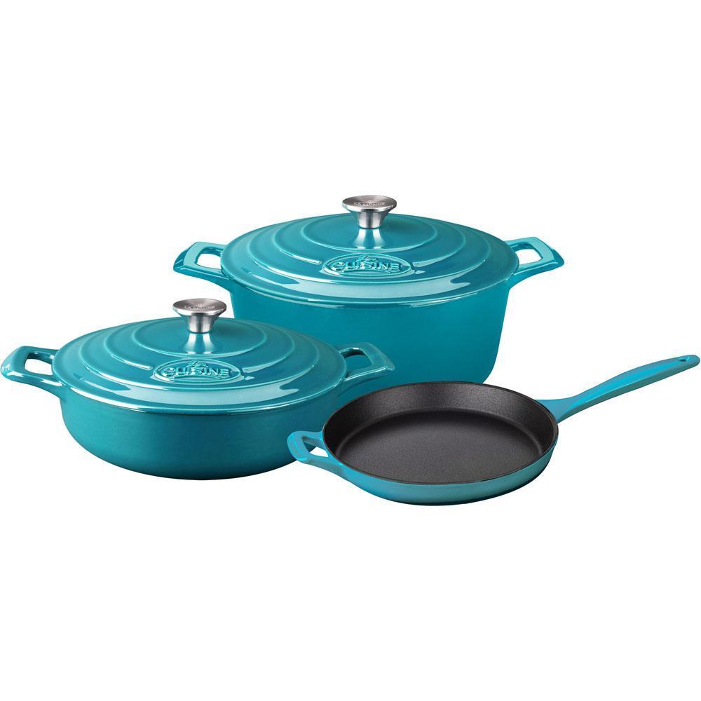 La Cuisine PRO 5-Piece Enameled Cast Iron Cookware Set with Saute ...