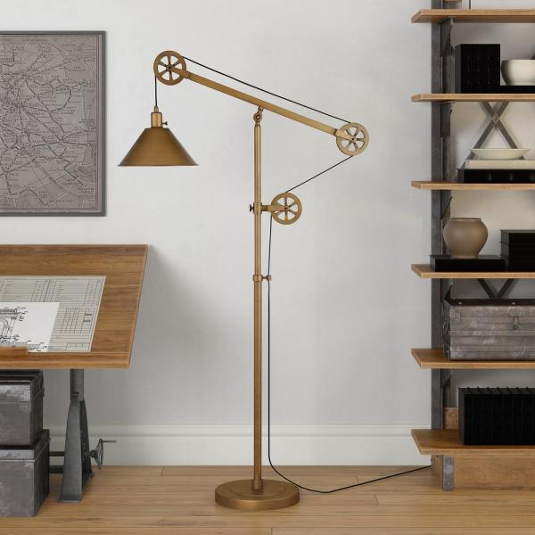 Descartes 70 in. Antique Brass Floor Lamp with Pulley System