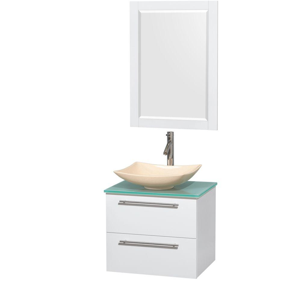 Wyndham Collection Amare 24 in. Vanity in Glossy White with Glass Vanity Top in Green with Ivory Marble Sink and 24 in. Mirror