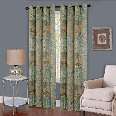 sheer vogue blue grommet window curtain panel