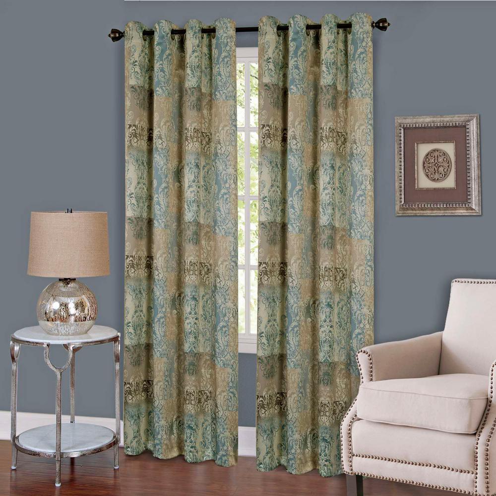Vogue Blue Grommet Window Curtain Panel - 50 in. W x 63 in. L