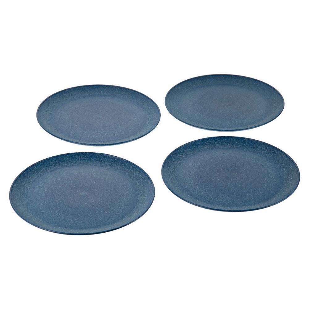 EVO Sustainable Goods 10 in. Blue Eco-Friendly Wood-Plastic Composite Plate (Set