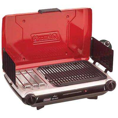 2-Burner Grill Stove Combo in Red/Black