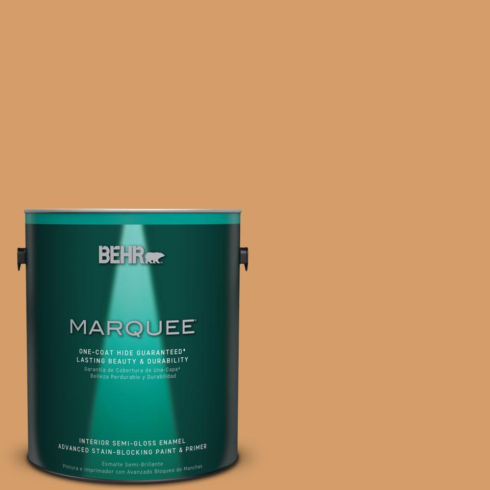 1 gal. #MQ4-8 Golden Aura One-Coat Hide Semi-Gloss Enamel Interior Paint