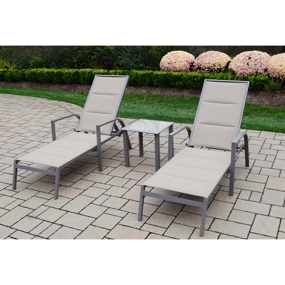 Delightful 3 Piece Patio Set With 2 Padded Sling Aluminum Chaise Lounges And 18 In.