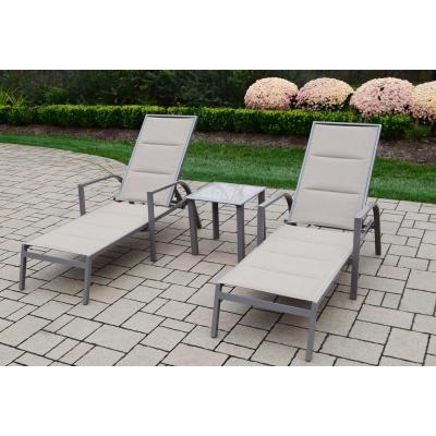 3-Piece Patio Set with 2 Padded Sling Aluminum Chaise Lounges and 18 in. Screen Printed Side Table