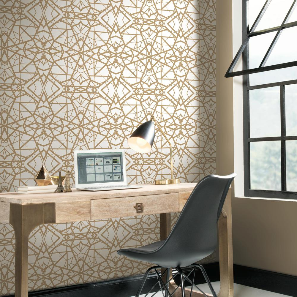 99 Diy Apartement Decorating Ideas On A Budget 23: RoomMates 28.18 Sq. Ft. Shatter Geometric White/Gold Peel