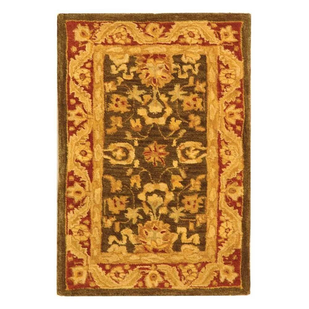 Anatolia Charcoal/Red 2 ft. x 3 ft. Area Rug