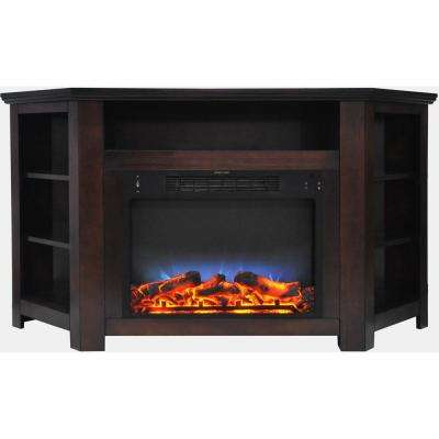 Tyler Park 56 in. Electric Corner Fireplace in Mahogany with LED Multi-Color Display