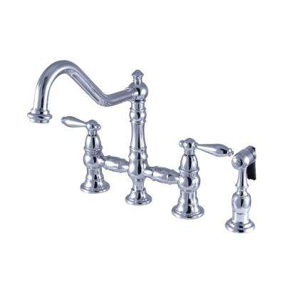 Restoration 2-Handle Bridge Kitchen Faucet with Side Sprayer in Chrome
