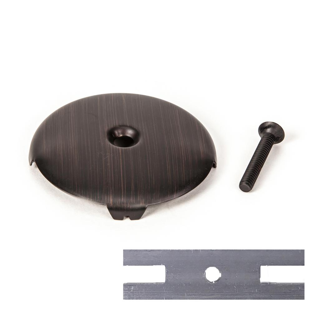 PF WaterWorks Universal Bathtub Drain Single/One (1) Hole Overflow Face Plate with Screw and Adapter to Fit 2-Hole in ORB