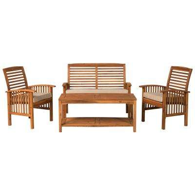 4-Piece Acacia Wood Light Brown Outdoor Chat Set with White Cushions