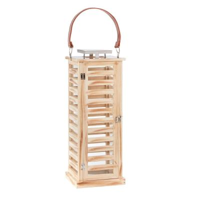 22 in. Wood and Metal Outdoor Patio Rectangular Lantern