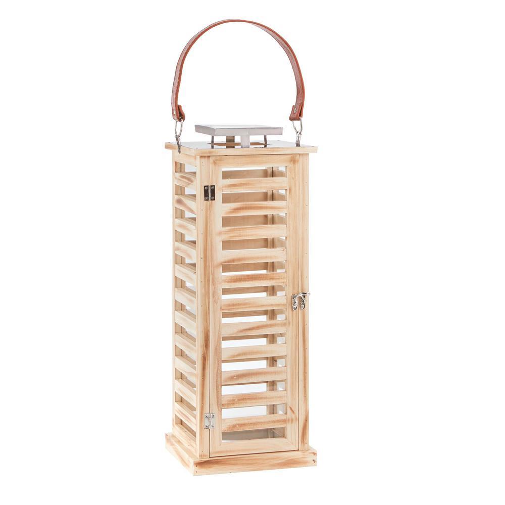 22 in. Wood and Metal Outdoor Patio Rectangular Lantern
