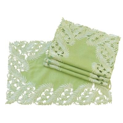 12 in. x 18 in. Green Laurel Embroidered Cutwork Traycloth (Set of 4)