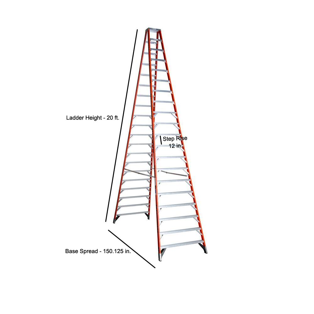 Werner 20 Ft Fiberglass Twin Step Ladder With 300 Lbs Load Capacity Type Ia Duty Rating T7420 The Home Depot