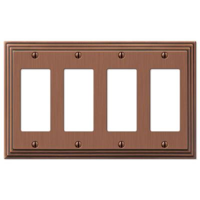Tiered 4 Gang Rocker Metal Wall Plate - Antique Copper