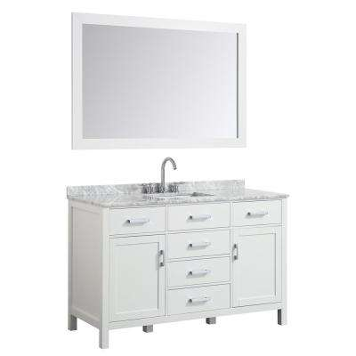 Hampton 49 in. Bath Vanity in White with Marble Vanity Top in Carrara White with White Basin and Mirror