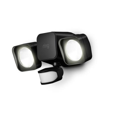 Smart Lighting Black Motion Activated Outdoor Integrated LED Flood Light Battery