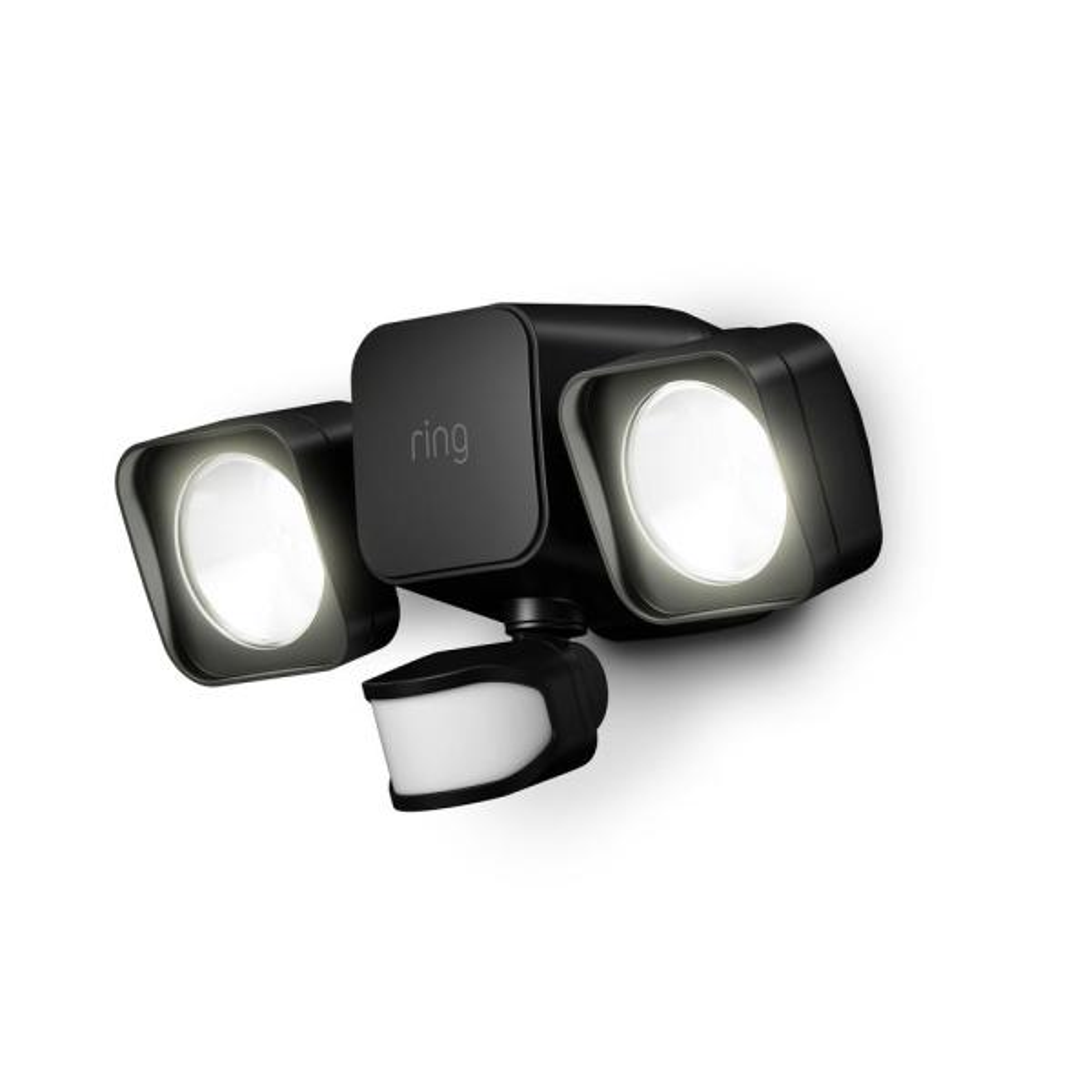 Smart Lighting Black Motion Activated Outdoor Integrated LED Flood Light Battery