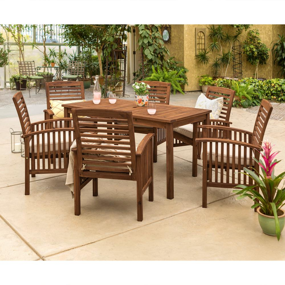 Dark Wood Dining Set: Walker Edison Furniture Company 7-Piece Dark Brown Acacia Wood Patio Dining Set With White