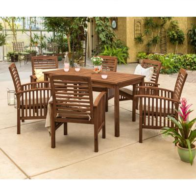 7-Piece Dark Brown Acacia Wood Patio Dining Set with White Cushion