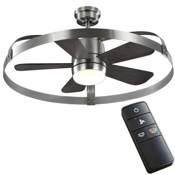Home Decorators Collection Harrington 36 In White Color Changing Integrated Led Brushed Nickel Indoor Outdoor Ceiling Fan With Remote Control 59236 The Home Depot