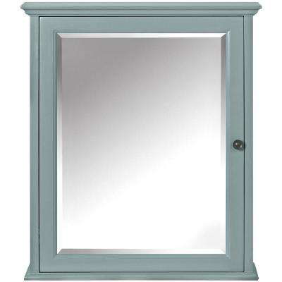 Hamilton 23-3/4 in. W x 27 in. H x 8 in. D Framed Surface-Mount Bathroom Medicine Cabinet in Sea Glass