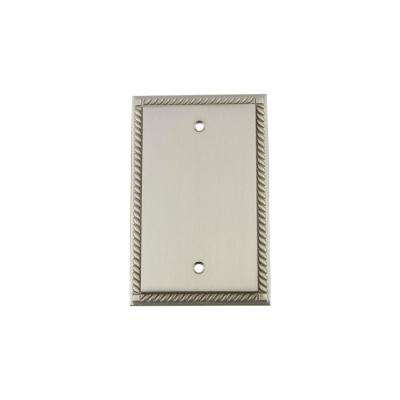 Rope Switch Plate with Blank Cover in Satin Nickel