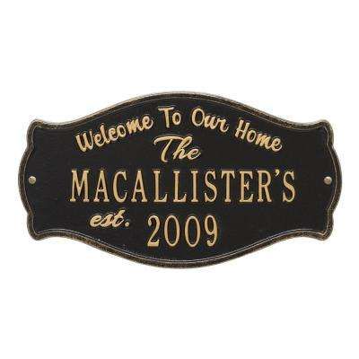 Fluted Arch Welcome Anniversary Personalized Plaque, Black/Gold