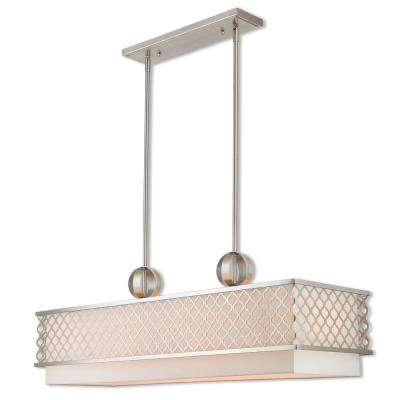 Arabesque 6-Light Brushed Nickel Linear Chandelier with Hand Crafted Off White Outside and White Inside Hardback Shade