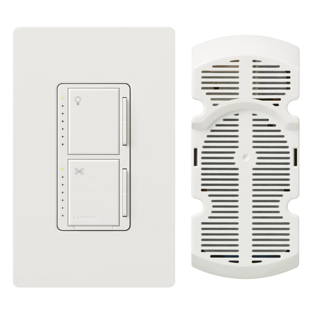 Lutron Maestro Fan Control and Light Dimmer for Incandescent and Halogen with Wallplate, Single-Pole, White