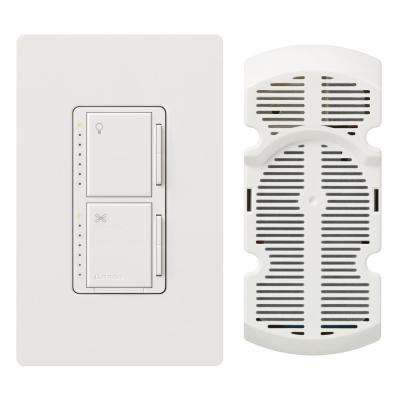 Maestro Fan Control and Light Dimmer for Incandescent and Halogen with Wallplate, Single-Pole, White