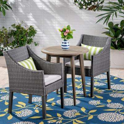 Nicola Gray 3-Piece Wood and Wicker Outdoor Bistro Set with Silver Cushions
