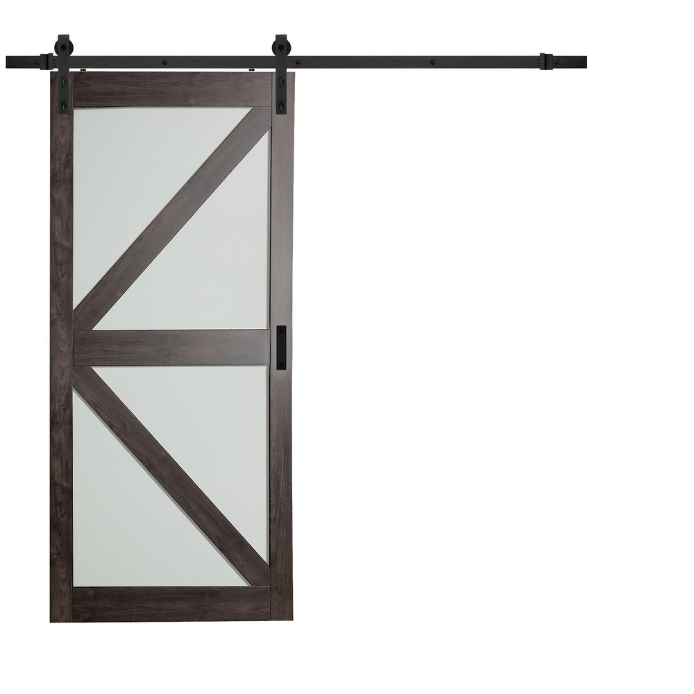 Incroyable TRUporte 36 In. X 84 In. Iron Age Gray MDF Frosted Glass K Lite