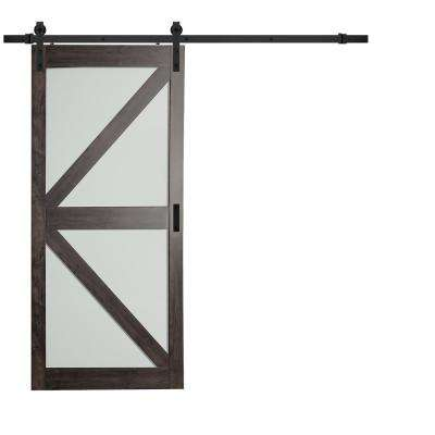36 in. x 84 in. Iron Age Gray MDF Frosted Glass K lite Design Barn Door with Modern Rustic Sliding Door Hardware Kit