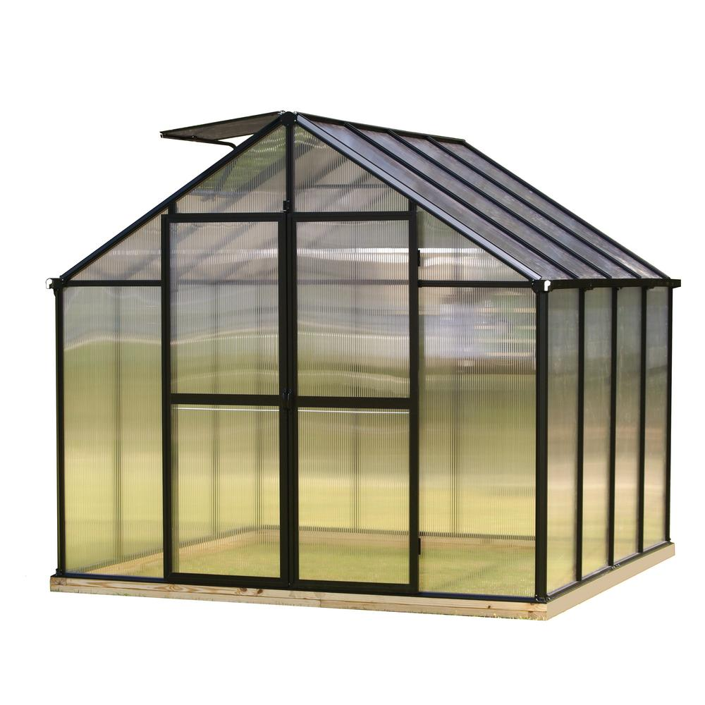 Monticello 8 Ft X 8 Ft Black Frame Quick Assembly Greenhouse Mont