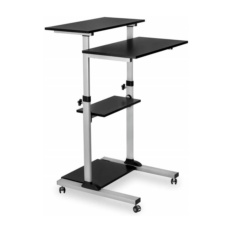 TechOrbits Black Height Adjustable Mobile Standing Desk - Stand Up Computer  Presentation Workstation Rolling Cart-OF-WS-T49 - The Home Depot