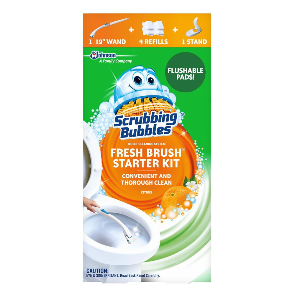 Scrubbing Bubbles Citrus Starter Kit with 4 Refills Fresh Brush Toilet Cleaning System