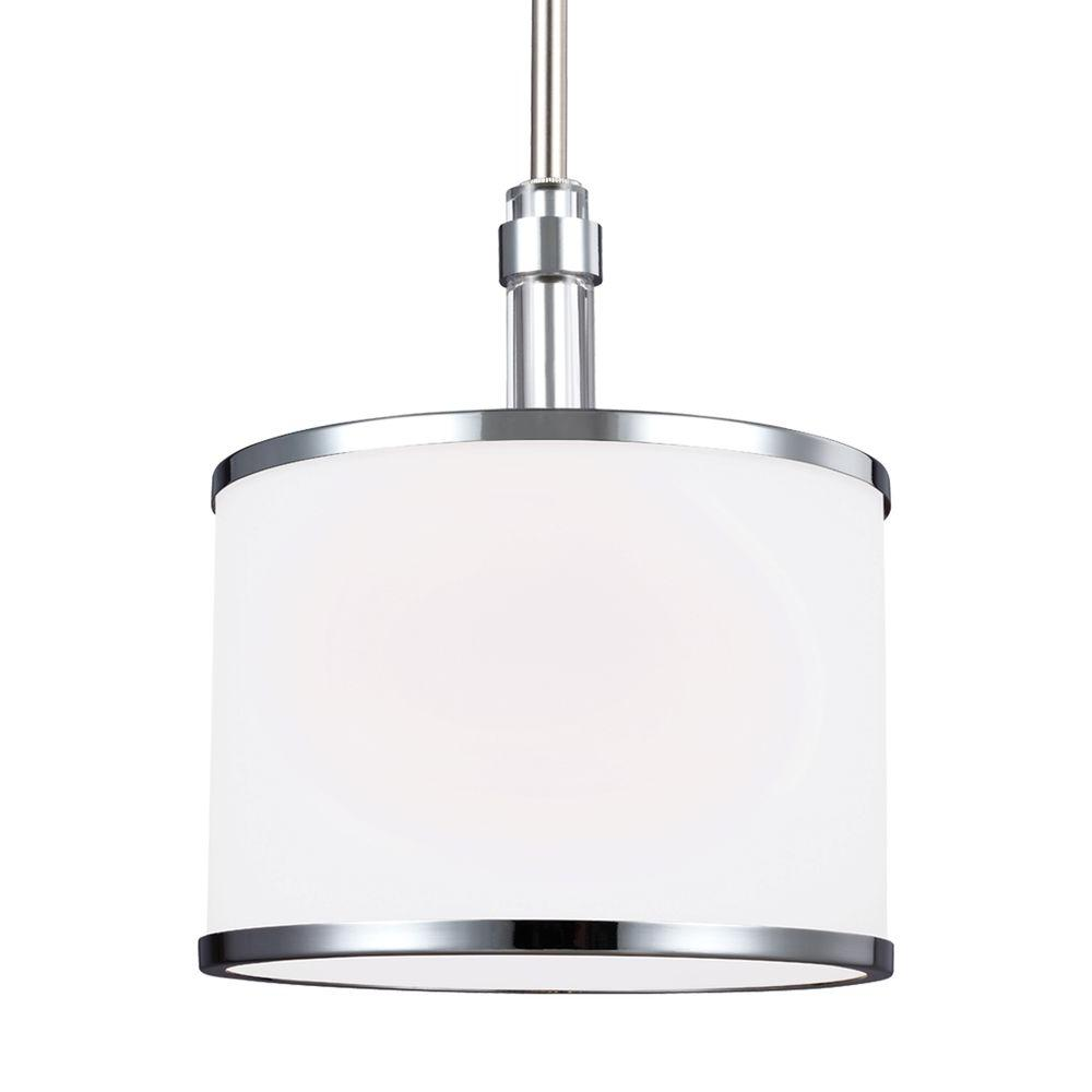 Feiss Prospect Park 1 Light Satin Nickel Chrome Pendant