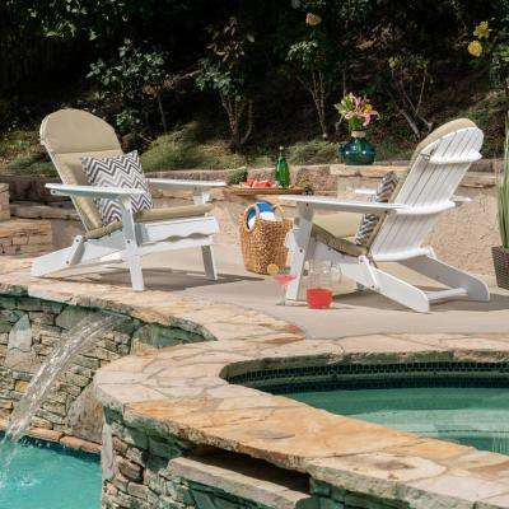Malibu White Folding Wood Adirondack Chairs with Khaki Cushions (2-Pack)