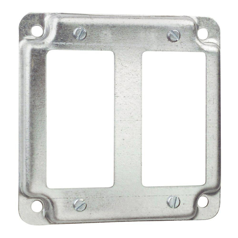 4 In Square Box Cover For 2 Gfci Receptacles Case Of 10