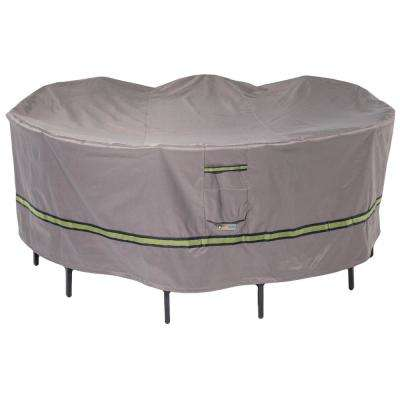 Soteria 76 in. Grey Round Patio Table with Chairs Cover