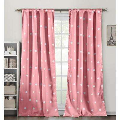 Dottie Pretty Pink Blackout Pole Top Panel Pair - 38 in. W x 84 in. L in (2-Piece)