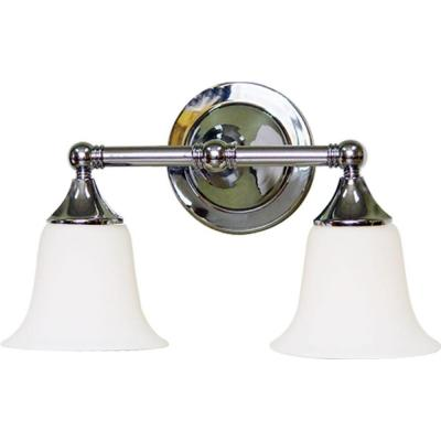 2-Light Indoor Brushed Nickel Bath or Vanity Light Wall Mount or Wall Sconce with Etched White Cased Glass Bell Shades