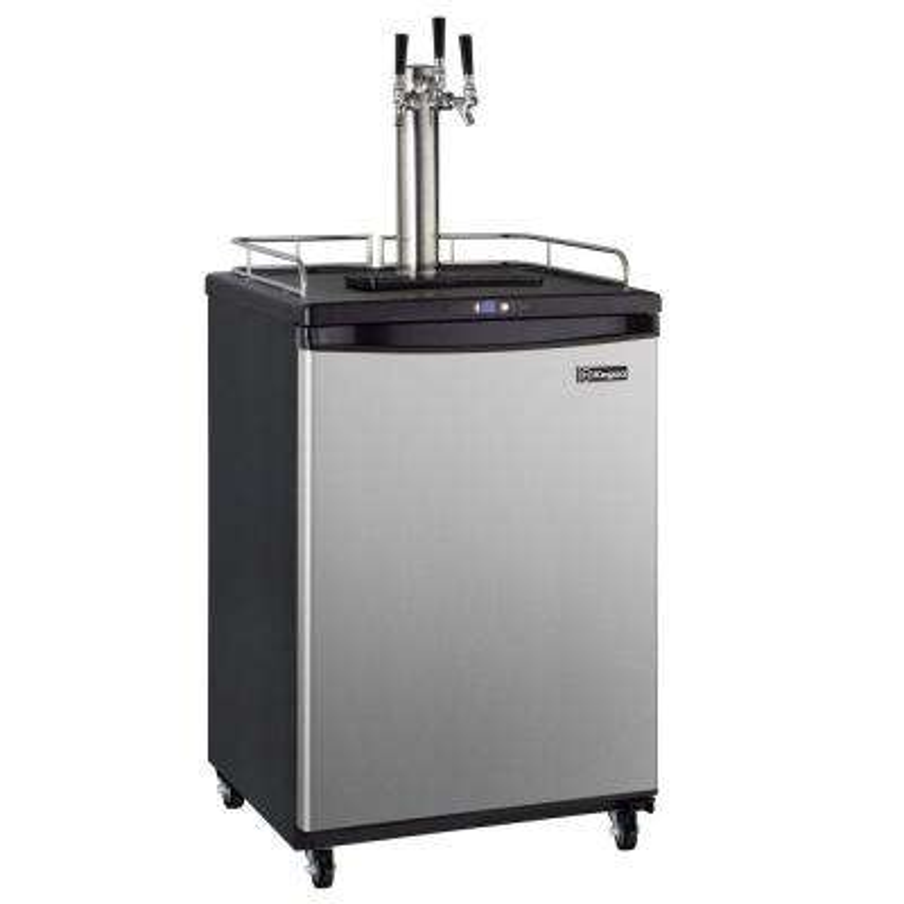Commercial Grade Digital Triple Tap Home Brew Beer Keg Dispenser with Dispense Kit